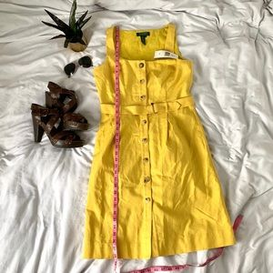 Yellow button down sleeveless dress